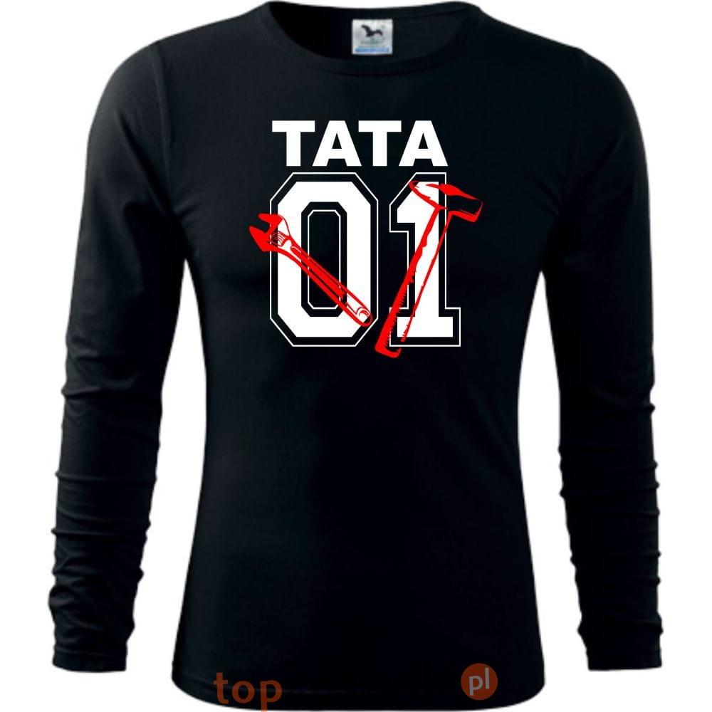 50a2dce4a Męska koszulka z dł. rękawem - Tata 01 narzędzia, super prezent na ...