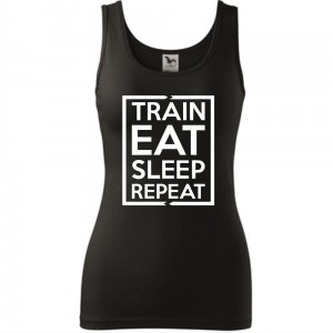 Damski tank top Sportowy - Train eat sleep - super prezent, na siłownię i fitness