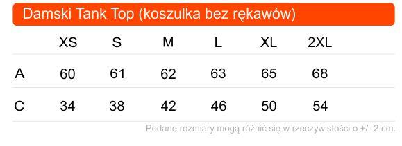 Tabela rozmiarów damskiej koszulki tank top