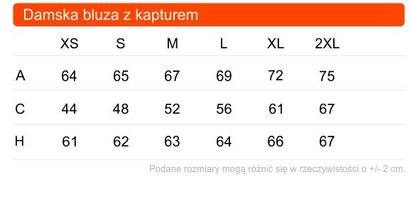 Tabela rozmiarów damskiej bluzy z kapturem