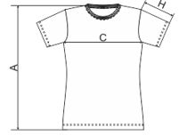 Tabela rozmiarów damskiej koszulki
