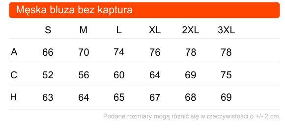 Tabela rozmiarów męskiej bluzy