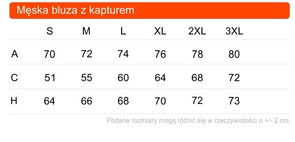 Tabela rozmiarów męskiej bluzy z kapturem