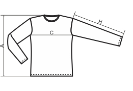 Tabela rozmiarów męskiej koszulki z długim rękawem